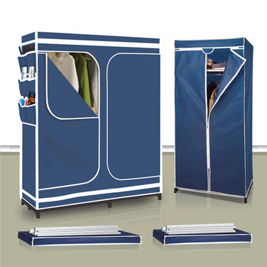 60inch Double Door Folding Cupboard with 18 Storage Pockets + Space Saving Folding Cupboard