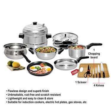 7 Pcs Induction Friendly Cookware Set + Free Knife Set + Chopping Board - AKSO