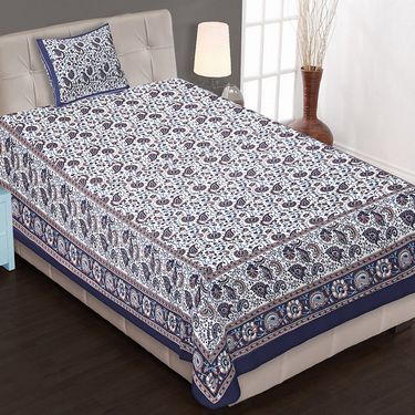 Set of 8 Jaipuri Cotton Printed 4 Double 4 Single Bedsheet With 12 Pillow Cover-4D4S84X90B2