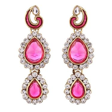 Vendee Fashion Kundan Necklace Set - Pink _ 8466