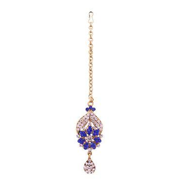 Vendee Fashion Kundan Necklace Set - Royal Blue _ 8503