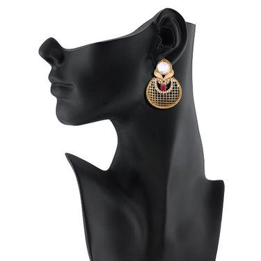 Vendee Fashion Kundan Earrings - Pink & Golden _ 8530