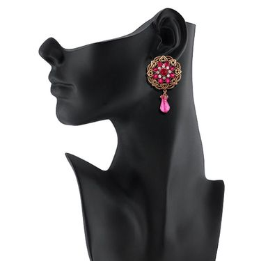 Vendee Fashion Kundan Round Glass Drop Earrings - Pink & Golden _ 8534