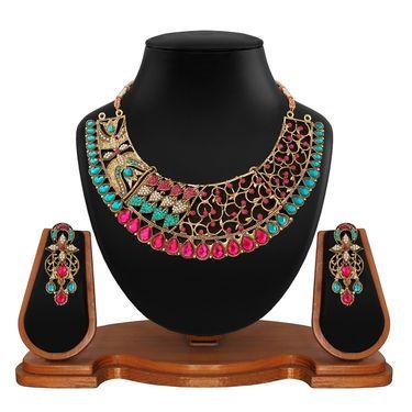 Vendee Fashion Stylish Necklace Set - Pink & Green