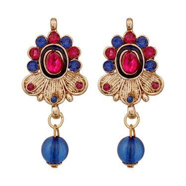 Vendee Fashion Stylish Pendant Set - Blue & Pink