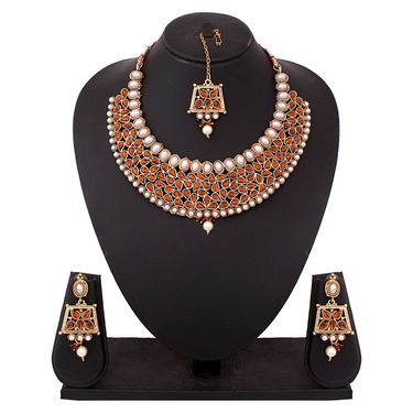 Vendee Fashion Stylish Necklace Set - Brown