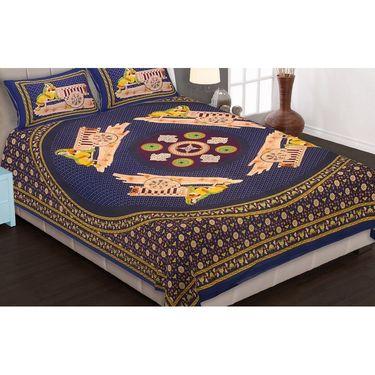Set of 8 King Size Cotton Jaipuri Sanganeri Printed Bedsheets With 16 Pillow Covers-X108C3