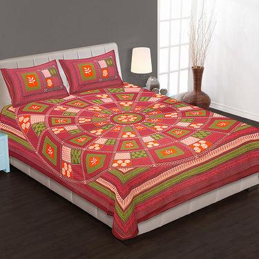 Set of 4 Cotton King Size Jaipuri Sanganeri Printed Bedsheets With 8 Pillow Covers-90x108B4C1