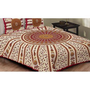 Set of 4 King Size Cotton Jaipuri Sanganeri Printed Bedsheets With 8 Pillow Covers-B4C10