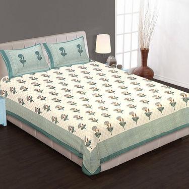 Set of 4 Cotton King Size Jaipuri Sanganeri Printed Bedsheets With 8 Pillow Covers-90x108B4C2