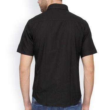 Crosscreek Half Sleeves Cotton Casual Shirt_328 - Black