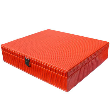 15 Slot Leatherette Vintage Vogue Art Watch Organiser_ADWB0000137 - Red