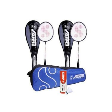 Silver's Pack Of 2 Aerotech Badminton Racquets With Full Covers + Pack Of 6 Nylon Shuttlecock Pro-270 White + 1 Kitbag