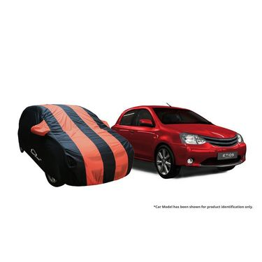 Autofurnish Stylish Orange Stripe Car Body Cover For Toyota Corolla Altis New-AF21145