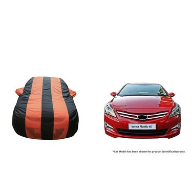 Autofurnish Stylish Orange Stripe Car Body Cover For Hyundai Verna Fluidic 4S-AF21146