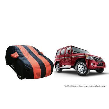 Autofurnish Stylish Orange Stripe Car Body Cover For Mahindra Thar  -AF21202