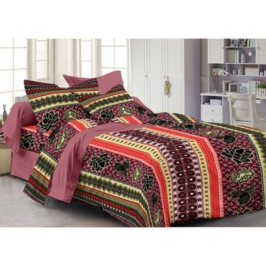 Storyathome Cotton Maroon 1 Double Bedsheet With 2 Pillow Cover-AR1218