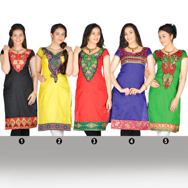 Aaina Set of 5 Embroidered Art Silk Ready to Stitch Kurti Material with Brocade Border