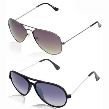 Pack of 2 Aoito Aviator Sunglasses_AO-37BLACKA48 + AO-42CBLAKA44