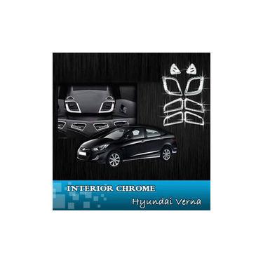 Set of 8 Pcs Auto Clover Chrome Interior Moulding Kit For Hyundai New Verna Fluidic - Silver