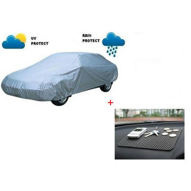Combo of AutoSun Car Body Cover for Chevrolrt Tavera - Silver + Non Slip Mat