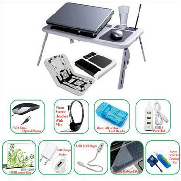 Combo of Multi-Purpose Folding Laptop Table + 9 Laptop Accessories