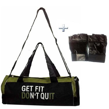 Combo of Protoner Gym Bag - Get Fit Don't Quit With Gloves