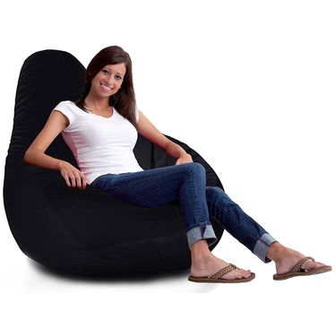 Storyathome-_XXL Black  Bean Bag Chair Cover Without Beans-BB1405