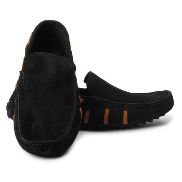 Bacca Bucci Suede Leather Black Loafers -Bbmc4059A