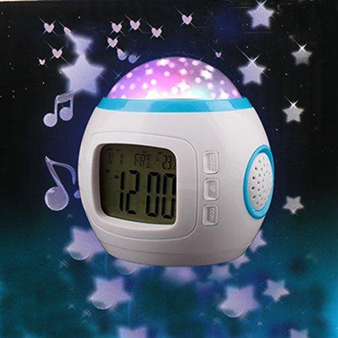 BD Music Starry Sky Magic LED Projector / Calendar Alarm Clock / Thermometer - White