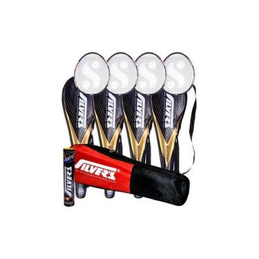 Silver's Pack Of 4 Blacken Badminton Racquets With 3/4 Covers + Pack Of 10 Marvel Shuttlecock + 1 Kitbag