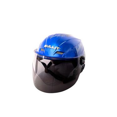 Autofurnish (BT-1003) Bullit Trendy Helmet with Vintage Graphics (Blue) - Smoke Black Glass-BT-1003