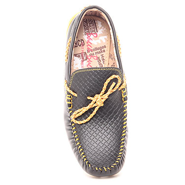 Bacca bucci  Faux Leather Loafers - Black & Yellow