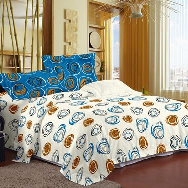 Story @ Home 186 TC 100% Cotton White 1 Double Bedsheet With 2 Pillow Cover-MT1214
