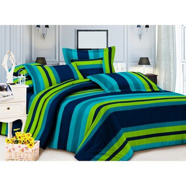 Carah Multi Colored Striped Double Bedsheet With Two Pillow Covers-CRH-DB157