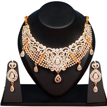 Belenteno Gold Plated Traditional Necklace Set - Golden - IS-AS09