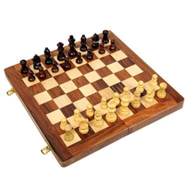 AVM 12inch Folding Chess Board Set (2inch Border, Brown Yellow)