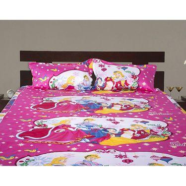 Set of 2 Beautiful Princess Kids Double Bedsheet with 4 Pillow Cover-CHFDBD110