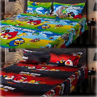 Set of 2 Angry Birds Kids Double Bedsheet with 4 Pillow Cover-CHFDBD113