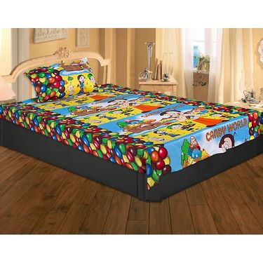 Set of 2 Chota Bheem Kids Single Bedsheet with 2 Pillow Cover-CHFSBD102