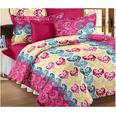 Set Of 2 Double Bedsheet With 4 Pillow Cover-CN_1203-CN1222