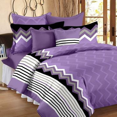 Storyathome 100% Cotton 4 Double & 4 Single Bed Sheets with 12 Pillow Covers-1216-1207