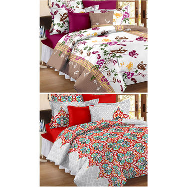 Set Of 2 Double Bedsheet With 4 Pillow Cover-CN_1264-CN1266