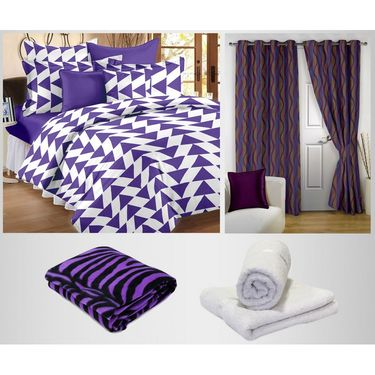 Storyathome 100% Cotton 1 Double Bedsheet Set,2 Pc Door Curtain,1 Pc Blanket & 2 Pc Hand Towel Combo-DNR3024