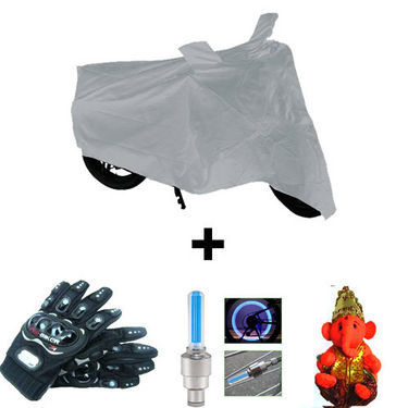 Combo of Bike Body Cover + ProBiker Gloves + Flash Wheel Lights + Hanging Ganesha for Bajaj Pulsar 150 DTS-i COMBOBKSilver-BJPLSR