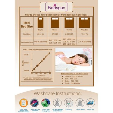 Bedspun 100% Cotton Double Bedsheet With 2 Pillow Covers-CR1405