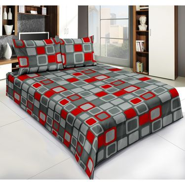 Exclusive Geometrical Print 1 Double Bedsheet with 2 Pillow Covers-CRH-DB345