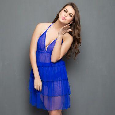 Clovia Chiffon Plain Nightwear - Blue - NS0317P21