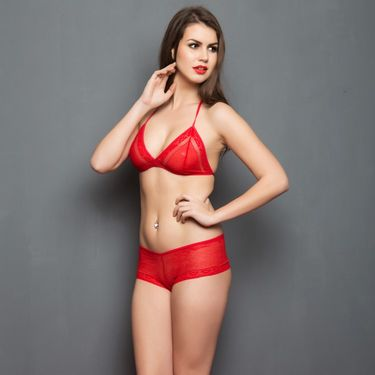Clovia Nylon Lace Plain Nightwear - Red - NSC315P04