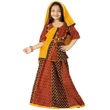 Little India Colourful Bagru Design Ethnic Lehanga Choli - DLI3GED108A